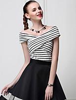 Tee-shirt Femme,Couleur Pleine / Rayé Sortie Sexy / simple Eté Manches Courtes Bateau Rouge / Blanc Coton Opaque