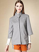 Women's Casual/Daily Simple Trench Coat,Solid Turtleneck ¾ Sleeve Winter Gray Cotton Medium