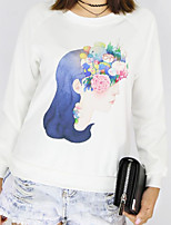 Women's Casual/Daily Active Simple Sweatshirt Print Round Neck Stretchy Cotton Long Sleeve Fall Winter
