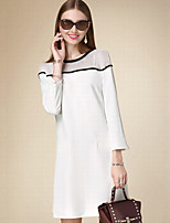 DOF Women's Casual/Daily Simple A Line DressSolid Round Neck Above Knee  Sleeve White Cotton Fall High Rise