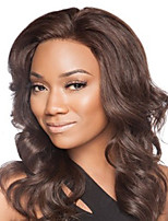 Dark Brown #2 Invisible Deep Lace L Part 17Inch Human Hair Natual Wave Human Hair Lace Front Wigs