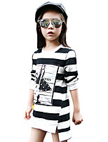 Girl's Casual/Daily Striped Tee,Cotton Spring / Fall Black / Red