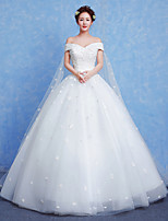 A-line Wedding Dress Chapel Train Bateau Tulle with Appliques