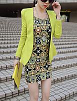 Feminino Blazer Trabalho Moda de Rua Primavera / Outono,Sólido Verde Poliéster Lapela Chanfrada Manga Longa Média