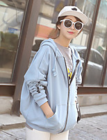 Women's Going out Simple Regular Hoodies,Solid Blue / Pink / White Hooded Long Sleeve Polyester Spring / Fall Medium Micro-elastic