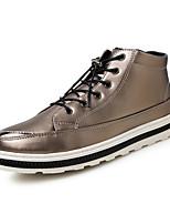 Черный Золотистый-Мужской-Для офиса Повседневный-Полиуретан-На плоской подошве-Удобная обувь Оригинальная обувь-Ботинки