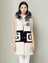 Xuebao Women's Casual/Daily Simple Fur CoatColor Block Stand Sleeveless Fall / Winter White Wool Thick