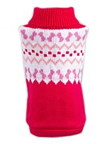 Cat / Dog Sweater Red Dog Clothes Winter / Spring/Fall Color Block Casual/Daily / Christmas / New Year's