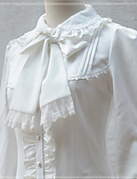 Sweet Lolita Blouse/Shirt Long Sleeve Medium Length White / Black / Beige Lolita Dress Velvet / FRP
