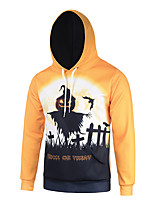 Men's Print Casual / Work / Formal / Sport Hoodie,Polyester Long Sleeve Orange