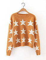 Women's Going out Cute Regular Pullover,Galaxy Pink / Red / White / Black / Brown Round Neck Long Sleeve Cashmere / Polyester Fall Medium