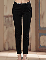 I'HAPPY  Women's Solid Blue / Black Chinos PantsSimple All Seasons
