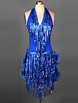 Latin Dance Dresses&Skirts Women's Performance / Training Spandex Ruched / Sequins / Tassel(s) 1 Piece 6 Colors