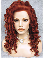 IMSTYLE 20''Top Quality Auburn Curly Synthetic Lace Front Wigs High Heat Resistant