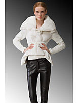 Women's Down Coat,Simple Casual/Daily Solid-Nylon White Duck Down Long Sleeve White / Black