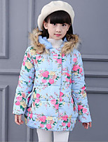 Girl's Casual/Daily Floral Down & Cotton Padded,Polyester Winter Blue