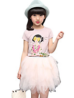 Girl's Casual/Daily Print Dress / Clothing SetCotton Spring / Fall Pink / White