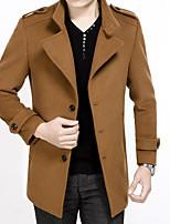 Men's Casual/Daily Simple Coat,Solid Shirt Collar Long Sleeve Fall / Winter Brown Wool Medium
