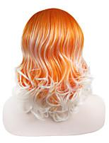 imstyle 16''high качество желтый средние волны синтетический парик фронта шнурка высокой теплостойкость волокна