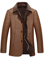 Men's Plus Size / Casual/Daily Simple Leather Jackets,Solid Long Sleeve Brown Lambskin