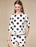 DOF Women's Casual/Daily Simple Fall Set PantPolka Dot Round Neck  Length Sleeve White Cotton Medium