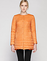 Women's Regular CoatSimple Casual/Daily Solid-Nylon White Duck Down Long Sleeve Crew Neck Orange