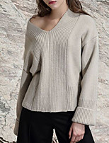 Women's Casual/Daily Street chic Short Pullover,Solid Beige V Neck Long Sleeve Polyester Fall Winter Medium Micro-elastic