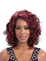 Short Bob Wavy Wigs Red Color Synthetic Wigs For Black Women