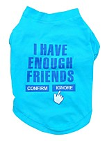 Soft Blue Letter I Have Enough Friends Cotton Dog Shirts Apparel Clothes for Pets