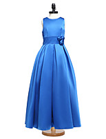 Lanting Bride® Floor-length Satin Junior Bridesmaid Dress Ball Gown Jewel with Sash / Ribbon / Flower(s)