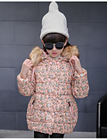 Girl Casual/Daily Floral Down & Cotton Padded,Polyester Winter Long Sleeve