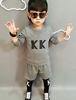 Boy's Casual/Daily Print Clothing SetCotton Fall Black / Gray
