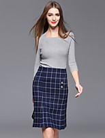 Women's Casual/Daily Simple Spring / Fall T-shirt Skirt Suits,Plaid Round Neck ¾ Sleeve Gray Cotton / Polyester Medium