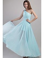 Floor-length Chiffon Elegant Bridesmaid Dress - A-line One Shoulder with Pleats