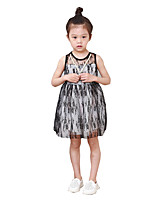 Girl's Casual/Daily Print Dress,Others Summer Black