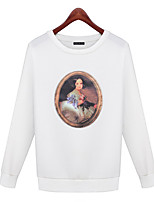 Women's Going out / Casual/Daily Vintage / Simple / Street chic Regular HoodiesSolid / Print White / Black Round Neck
