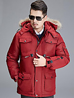 Men's Regular Down Coat,Simple Casual/Daily Solid-Polyester White Duck Down Long Sleeve Standing Collar Red / Black
