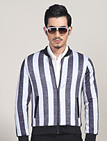 Men's Daily/Formal/Work Simple/Street chic Jackets Striped Stand Long Sleeve All Seasons White Cotton/Polyester Medium