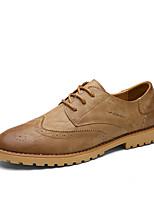 Черный / Желтый / Серый-Мужской-Для прогулок / На каждый день-Кожа-На плоской подошве-Others-Туфли на шнуровке