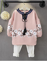 Girl's Casual/Daily Floral Hoodie & Sweatshirt / PantsCotton Spring / Fall Pink