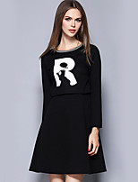 YICHAOFUSHI Women's Casual/Daily Street chic Loose DressLetter Round Neck Above Knee Long Sleeve Black Cotton Fall High Rise -OMQ-Y1626-220