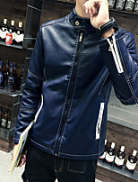 Men's Casual/Daily Simple Leather Jackets,Solid Stand Long Sleeve Fall / Winter Blue / Black Cowhide Medium