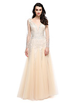 TS Couture® Formal Evening Dress A-line V-neck Floor-length Tulle with Beading