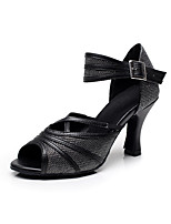 Customizable Women's Dance Shoes Satin / Sparkling Glitter Latin / Salsa Sandals / Heels Customized HeelIndoor