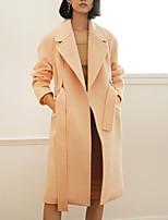 Женский На каждый день Однотонный Пальто Рубашечный воротник,Простое Зима Розовый Длинный рукав,Шерсть / Нейлон,Средняя