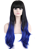 Long Wavy Hair Wig with Bangs Black and Blue Color Synthetic Wigs for Women