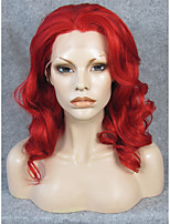 IMSTYLE 16''Red Medium Wave Synthetic Lace Front Wig High Heat Resistant Fiber