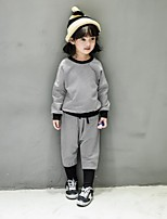 Girl's Casual/Daily Striped Clothing SetCotton Spring / Fall Gray