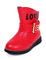 Черный Розовый Красный-Для девочек-Для праздника Повседневный-Полиуретан-На плоской подошве-Сапоги для верховой езды Удобная обувь-Ботинки