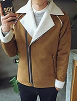 Мужчины На каждый день Однотонный Куртка Рубашечный воротник,Простое Осень Черный / Коричневый Длинный рукав,Хлопок,Толстая